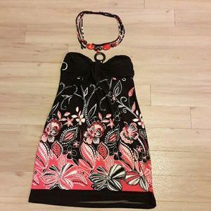 Tie around the neck mini dress